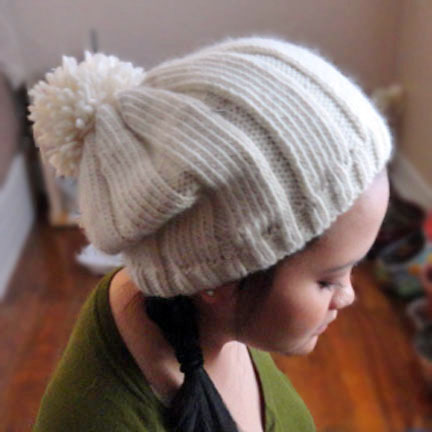 Slouchy Knitted Hat Pattern Easy : Simple Ribbed Hat With Pom Pom - Purl Avenue