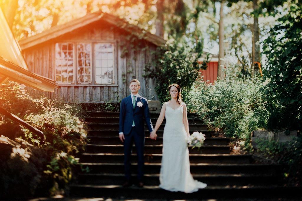 Vintage bröllopsfotografering i trapp