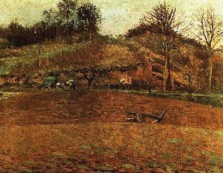 Камиль Писсарро. Вспаханное поле. 1874.