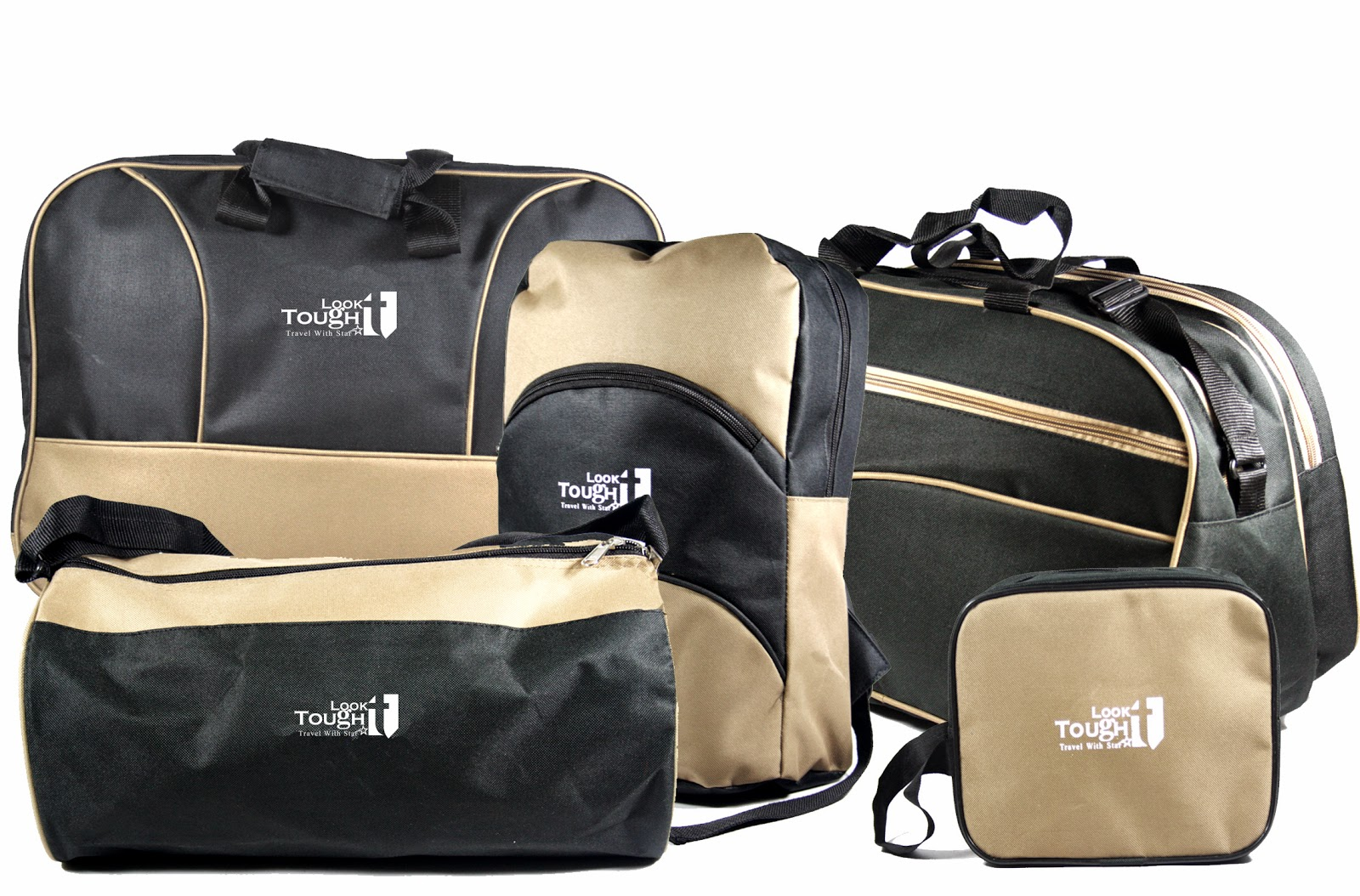 Shopclues : Buy Tough Look Black & Beige Bags Combo At Rs. 1390 only