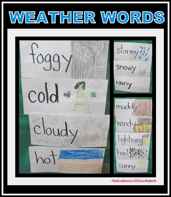 Weather Vocabulary Words in Kindergarten from Weather RoundUP at RainbowsWithinReach