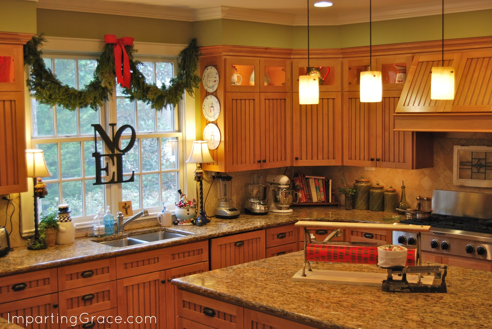 Imparting grace dollar store christmas decorating for Countertop decor ideas