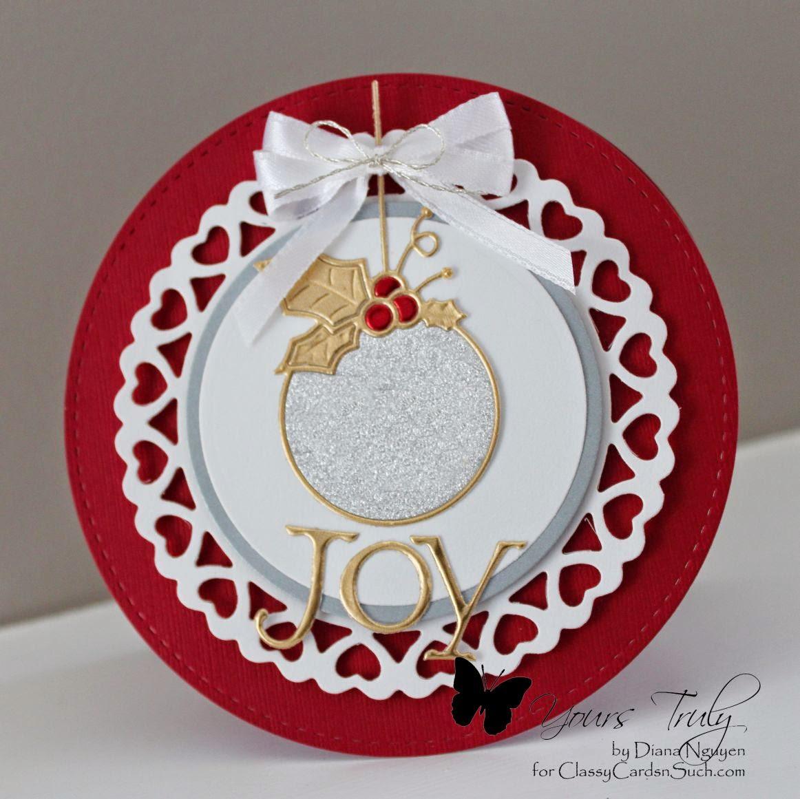 Spellbinders Heart Circle, Memory box, cabrini Ornament, Diana Nguyen, CAS, Christmas