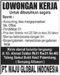 Loker PT. MAJU GLOBAL INDONESIA Palembang Juni 2015