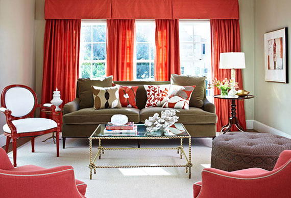 beige and red in modern living
