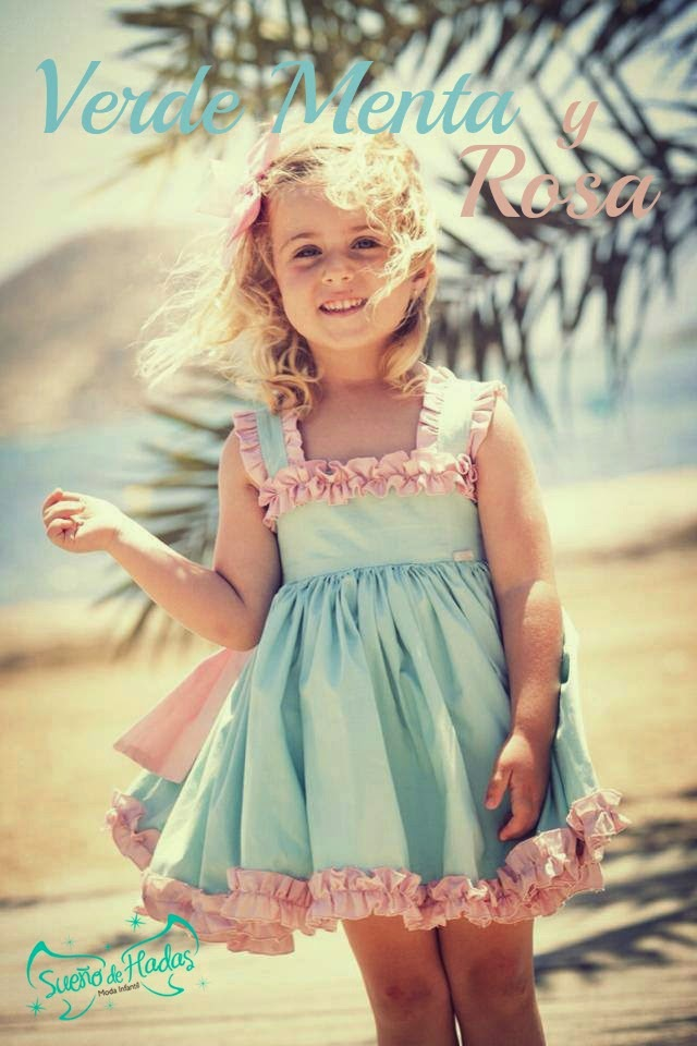 Verde Menta y Rosa-Vestido niña La Amapola