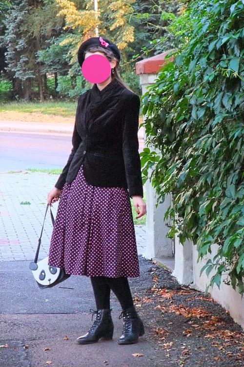 1950s, dress, replica, vintage, New Look, Dior, velvet, black, pink, panda, purse, C&A, Deichmann, beret