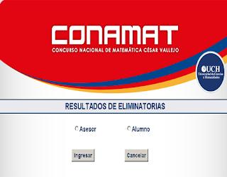 Resultados Examen Admisión CONAMAT 2013 28 29 de Setiembre