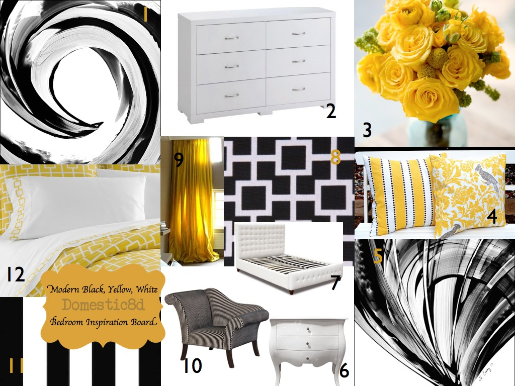 Domestic8d inspiration boards for Black white yellow bedroom