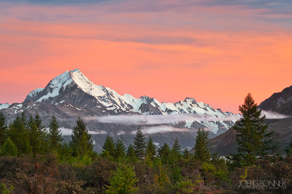 Aoraki/Mount Cook in apricot morning Light.