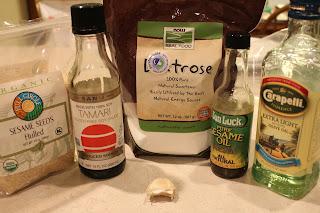 sesame seeds, tamari sauce, dextrose, sesame oil, olive oil, garlic