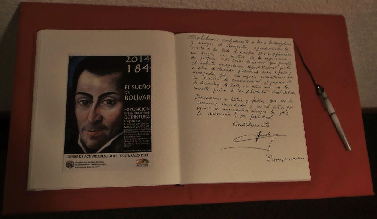 Exposición en la Embajada de la R. B. de Venezuela en Berna - Suiza. Noviembre de 2014