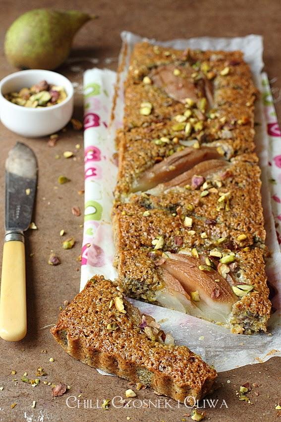 ciasto z gruszkami i pistacjami