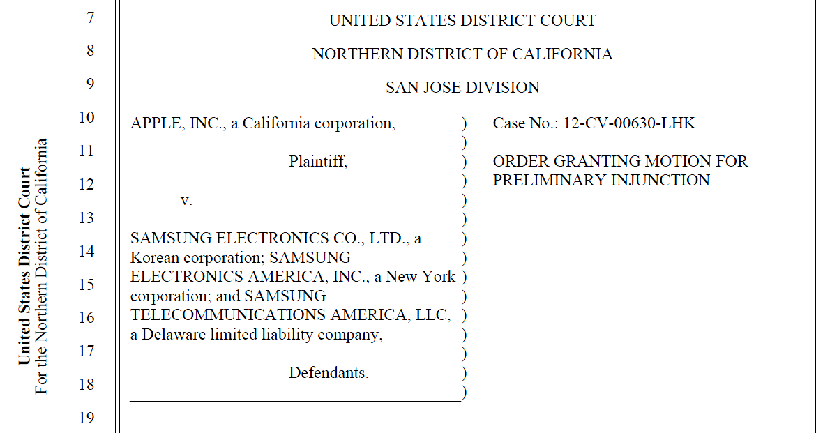 Wins preliminary injunction