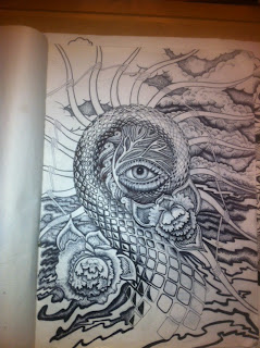 surreal ink drawing of an eye in a coil by TonyMark