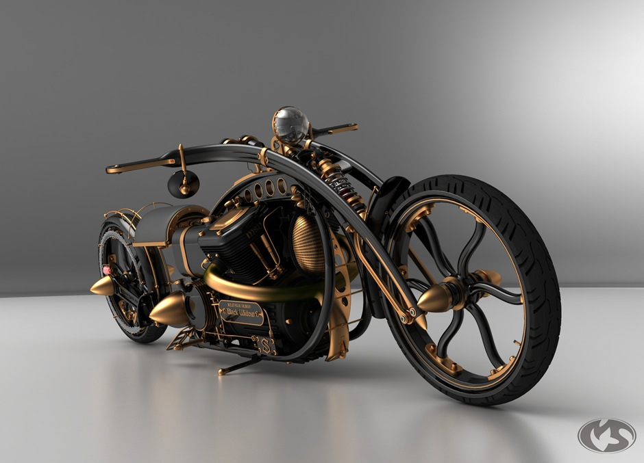 Motorcycle 74 Steampunk Chopper Black Widow By