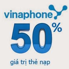 Vinaphone khuyến mãi 50%nạp thẻ ngày 21/05/2015
