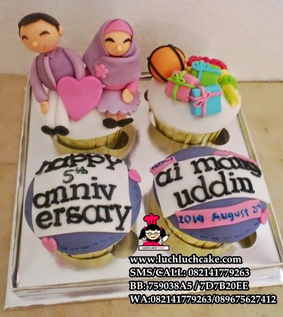 Cupcake Anniversary Ungu Daerah Surabaya - Sidoarjo
