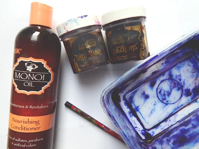 Hask Monoi oil conditioner, La Rice Directions in Dark Tulip, container,and stick.