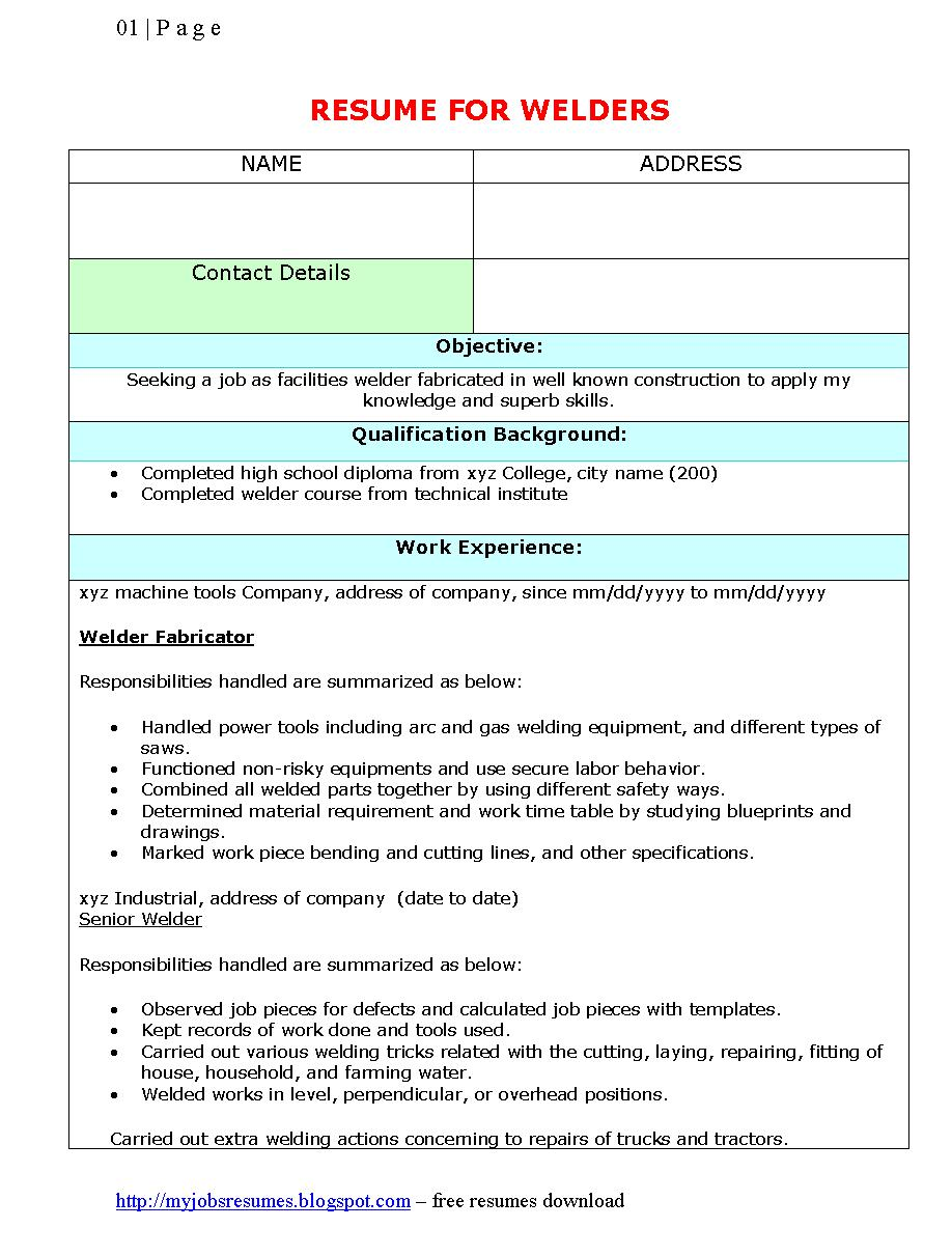 Resume Template For Welders   Free Welders Resumes Samples Download  Sample Welder Resume