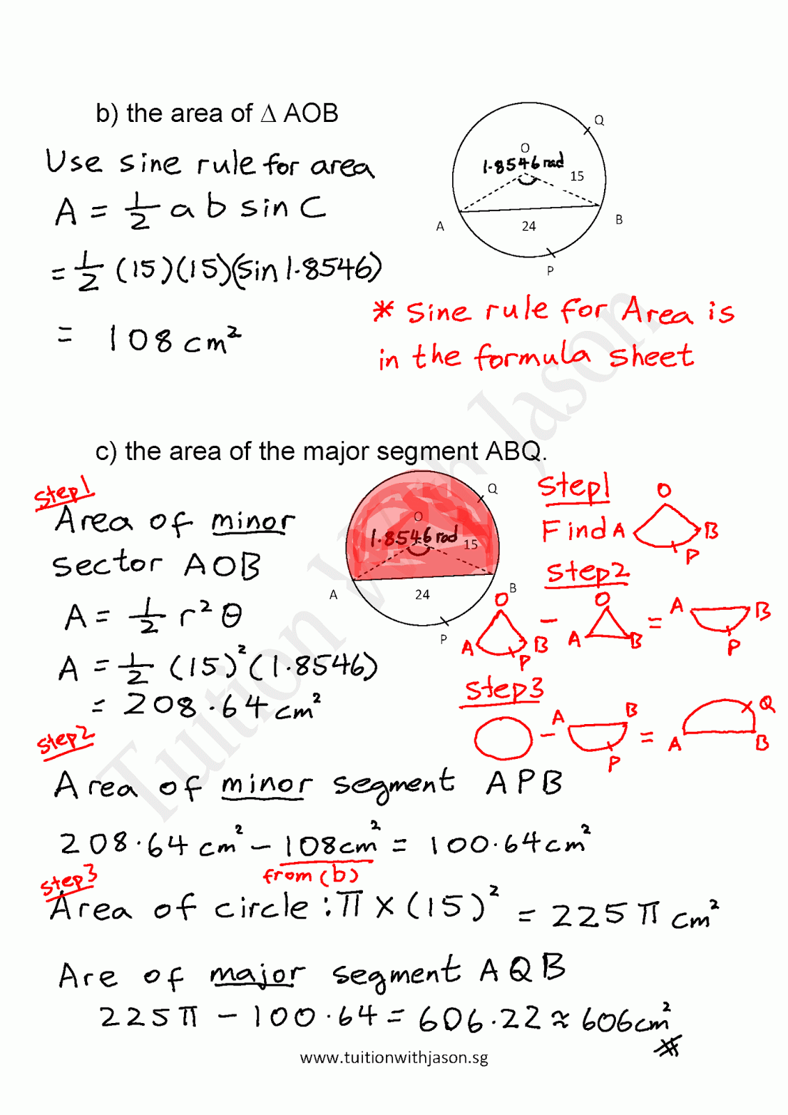 Emath  Mensuration  Sector Area And Radian Measure