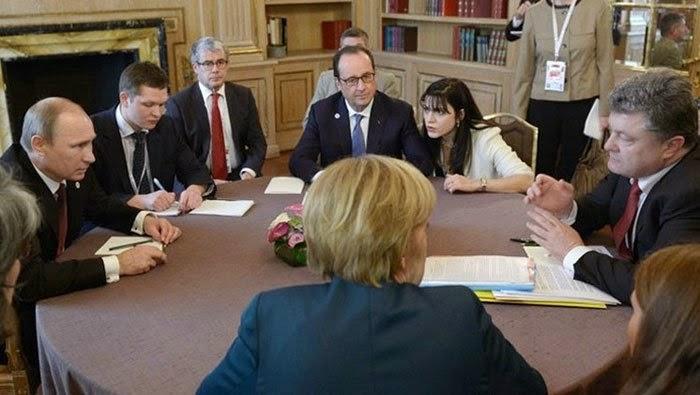 Vladimir Putin, Angela Merkel, Francois Hollande, Petro Porosenko, Minsk