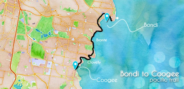 Carte Coogee to Bondi Walk