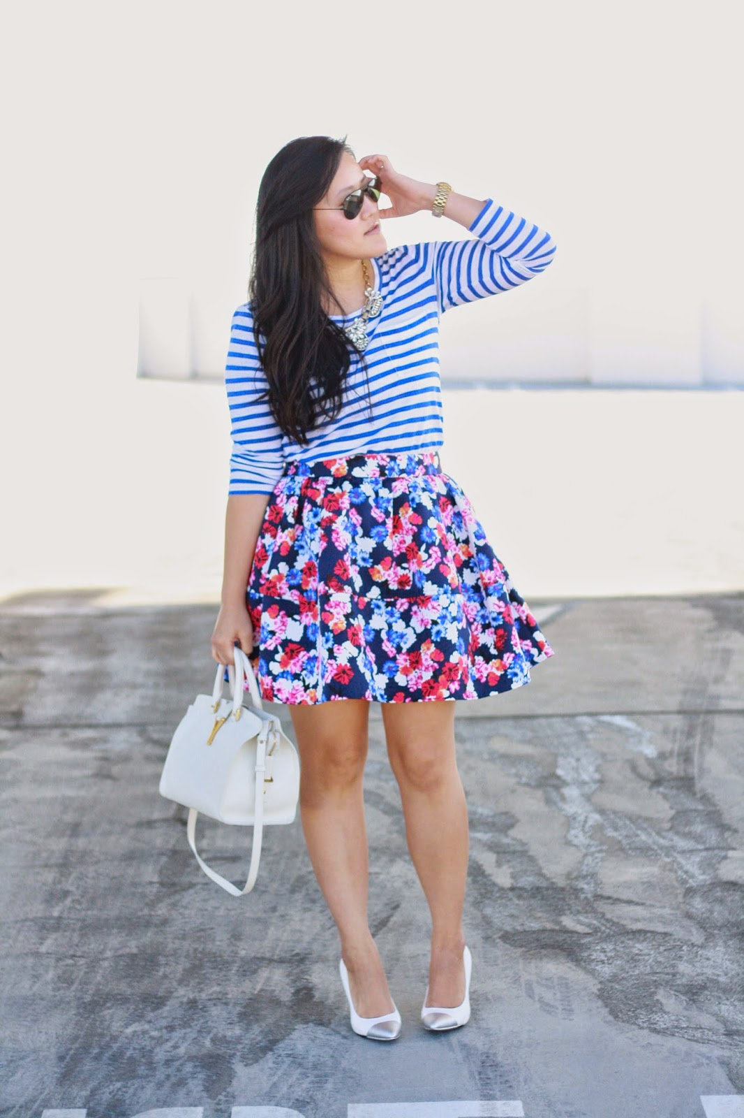 simplyxclassic, stripes and florals, prints, jcrew top, express skirt, ray ban, jrew necklace, diy heels, ysl, saint laurent cabas, blogger, ootd, california blogger,