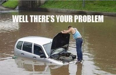 car maintenance funny, flooding comic, flooding car hood up, guy standing on hood of car,