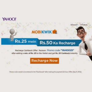 Recharge offer: Get Rs. 50 Mobile Recharge for Rs.25 – Mobikwik