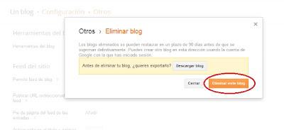 como eliminar blog blogger