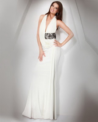 Jovani 2011 Sexy Deep Low V-neck White Prom Dress