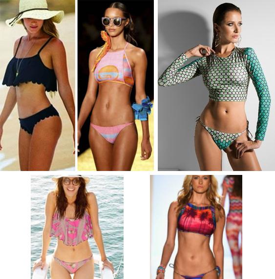 biquínis top cropped para moda praia
