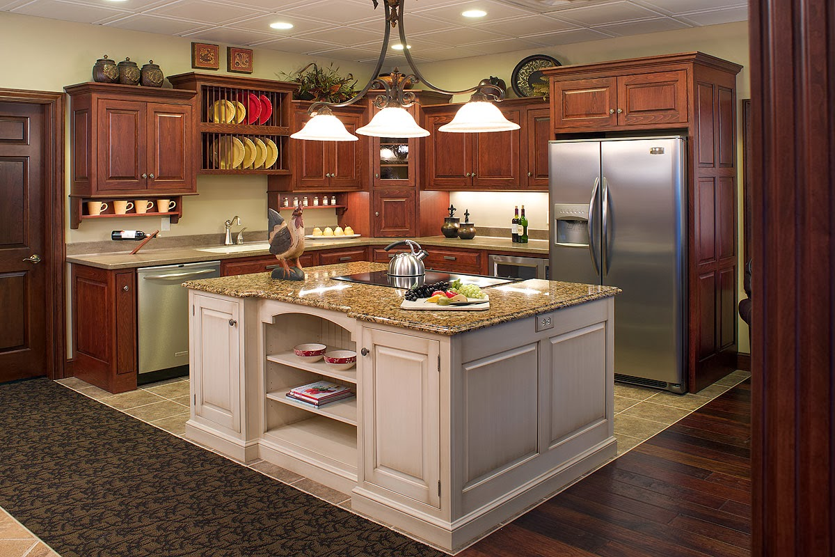 White Wood Kitchen Island Cabinet With White Granite Countertops