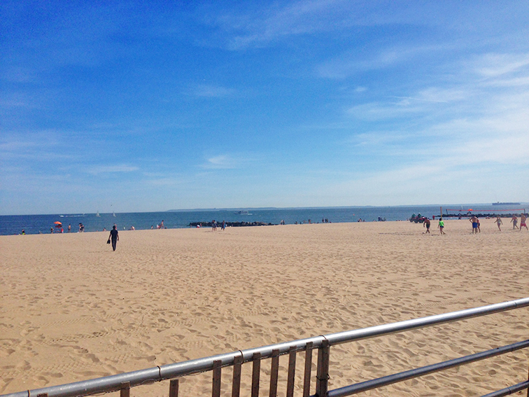 Coney Island Beach, Brooklyn, New York, blue skies, perfect day, sunshine