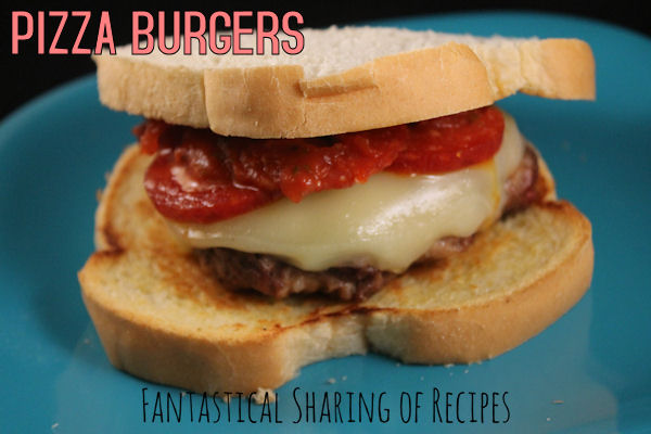 Pizza Burgers - a sausage and beef patty topped with provolone and pepperoni | www.fantasticalsharing.com/