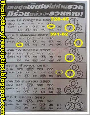 Thai Lottery 3up tass tip paper 16-09-2014