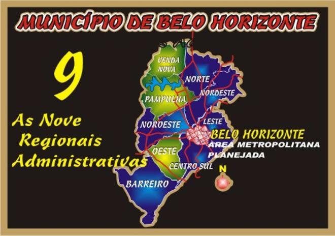 As 9 Regiões Administrativas de BH.
