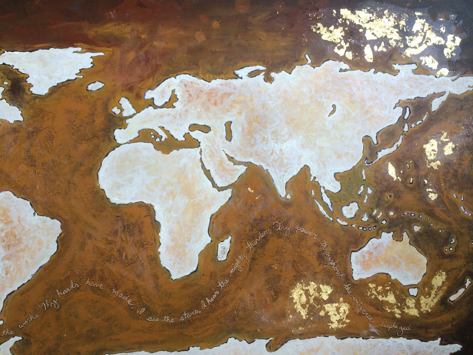 Stephen lursen art custom world map with gold leaf sold they didnt ask for gold leaf but i love it so much that i couldnt help myself i love how the bright reflective gold contrasts so nicely against the dark gumiabroncs Choice Image