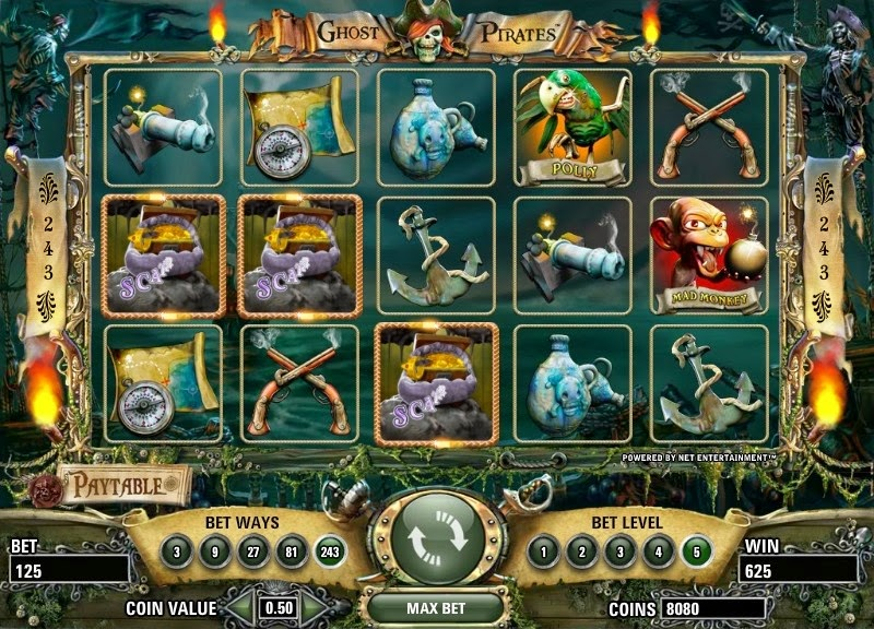 Ghost Pirates Video Slot Screen