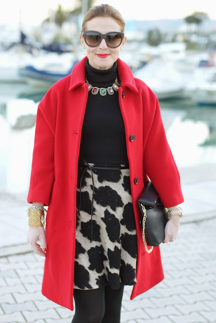 red Kiomi coat, elegant outfit, zara clutch, Fashion and Cookies, fashion blogger