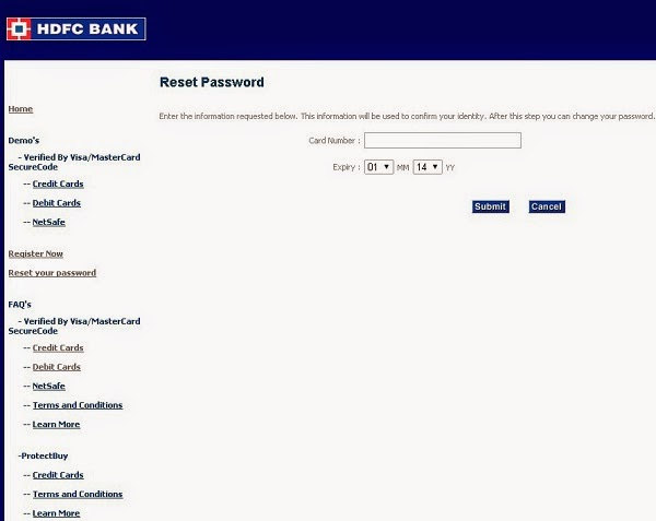 HDFC reset password page screenshot