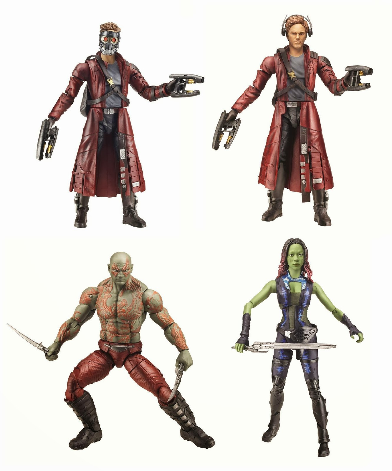 Guardians of the Galaxy Marvel Legends Infinite Series Action Figures - Peter Quill aka Star-Lord, Drax the Destroyer & Gamora