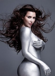 Kardashian Silver Body Paint on Kim Kardashian Sexy