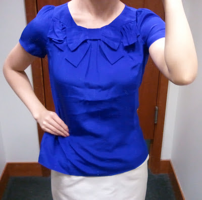 J.Crew Bow-Neck Top in Byzantine Blue