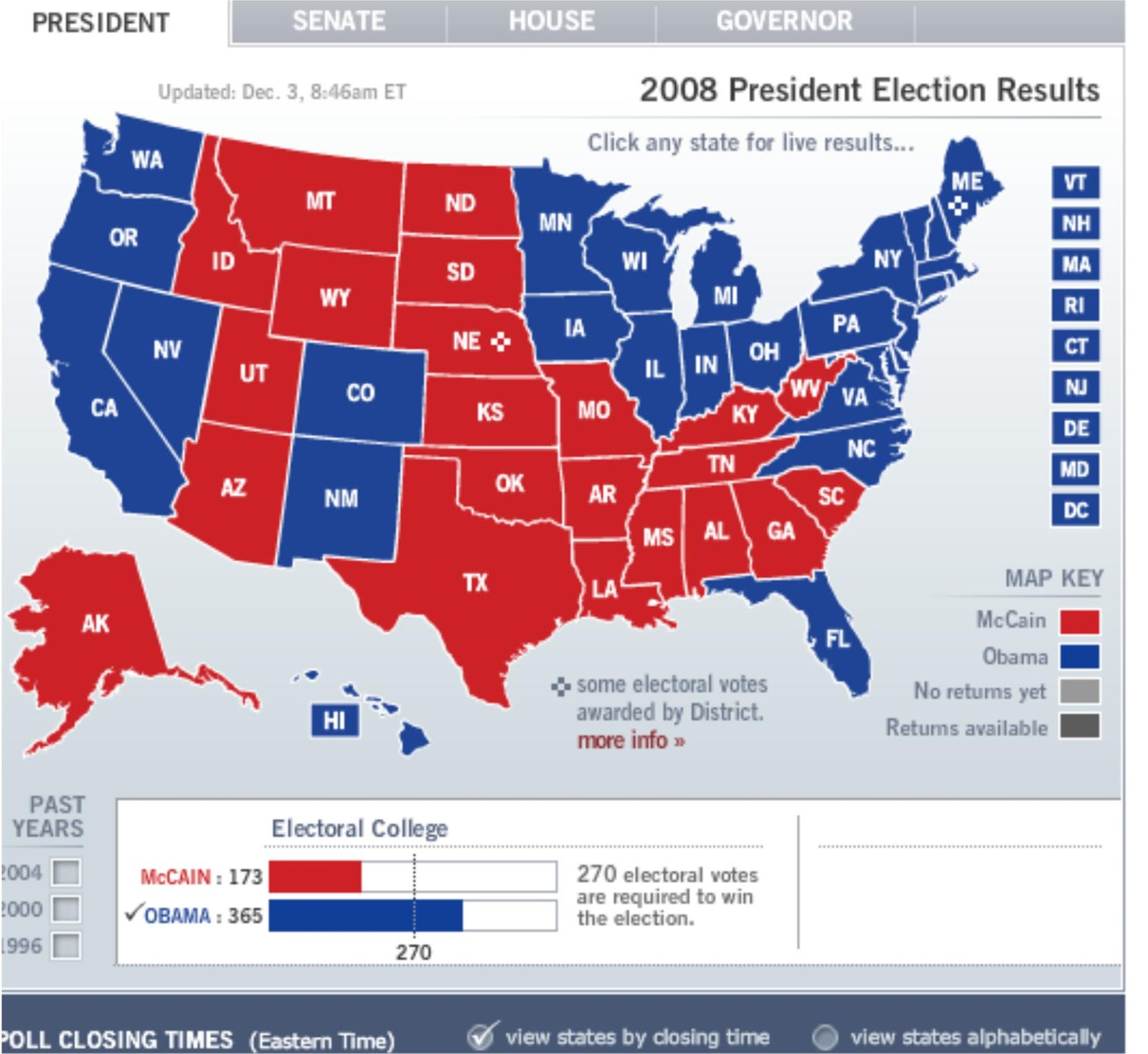Us map of electoral college votes 2016