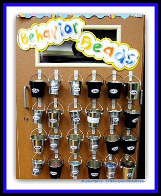 photo of: Behavior Bucket System in 2nd Grade Classroom (Rockin' Teacher Materials via RainbowsWithinReach)