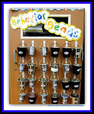 photo of: Behavior Bucket System in 2nd Grade Classroom (Rockin' Teacher Materials via RainbowsWithinReach)