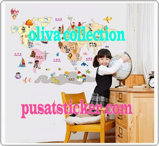 jual wall sticker model world map - olivacollection