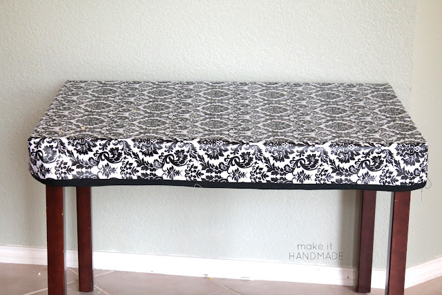 A sewn fitted stay put table cloth for a child's table. Project by Make It Handmade as part of the Making Home Series